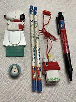 Snoopy/Peanuts Lot - Pencil, Pen, Eraser, Breakaway Necklace Sharpener, Bookmark