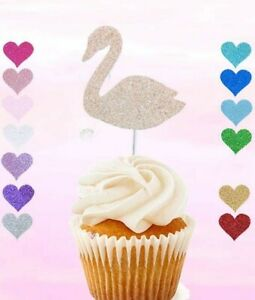 12 swan cupcake topper birthday party celebration decoration any colour