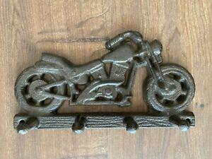 Key Holder 4 Hook Cast Iron Metal Motorbike Wall Hook Rack Motor Bike Motorcycle