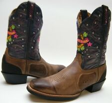 LADY TONY LAMA LUCKY STAR ST1002 BRN LEATHER SQUARE TOE COWBOY WESTERN BOOTS 9 B