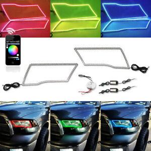 For 09-16 Dodge Ram Angel Eye LED Halo Rings RGBW MultiColor Bluetooth Headlight