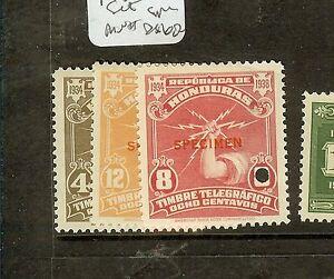 HONDURAS (P1008B) 1935 FISCAL SET OVPT SPECIMEN EX ARCHIVES  MNH