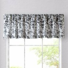 Laura Ashley AMBERLEY TOILE Floral Window Valance 100% Cotton Black White 84X15