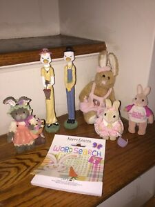 "Spindle Ducks Figurines 10"" 8"" 5"" 4"" Plush Resin Bunny Rabbit LOT Of 7 ❤️tw4j1"
