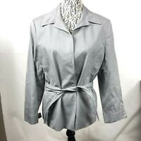Jones New York Women's size 12 Hounds tooth Blazer Belted Blue & White Jacket HK