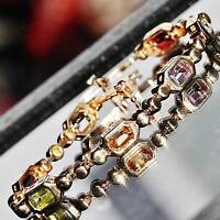 "14k yellow gold bracelet 5.25ct multi gemstone 7.75"" link chain vintage  17.3gr"