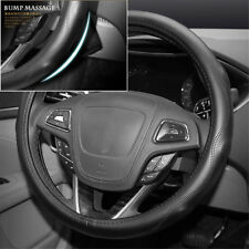 Genuine Leather Steering Wheel Cover for Car SUV Truck Bump Massage Fit Size M
