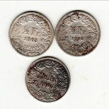 SUISSE TRIO 50 CENTIMES ARGENT 1898/1903/1906