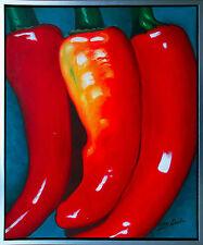 Henri Gautier *1955: Pepperoni Hyper-Realismus Ölmalerei auf Leinwand 60 x 50 cm