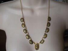 Genuine Damascene Choker Necklace Gold Inlay Bird Flowers Damasquinado