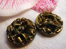 DUO cabochon vintage en verre kaki métalisé 2,2 cm  creation bijoux