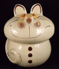 Vntg Ceramic Cat Cookie/Container Jar Hand Painted Calif Pottery USA Collectible