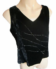 Art of Silk by Tie Rack black velvet beaded top size M (12) Vintage 1980s.