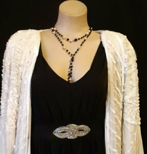 Necklace, 2 strand with long drop, plastic beads, 1920's inspired.