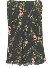 Studio M 100% Silk Black Floral Skirt Lined Sheer Ruffled Hem Medium