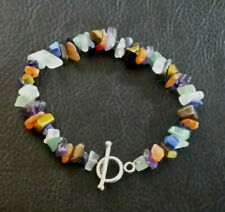 Sterling Silver Bracelet Toggle Natural Gemstone Nuggets Multicolor 7.7 925 #592
