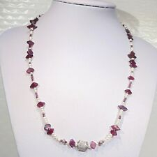 """Sterling silver garnet seed pearl beaded necklace, toggle clasp, 19"""" long signed"""