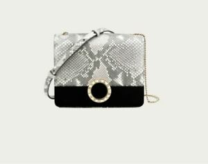 BVLGARI BVLGARI Python Skin Small Flap Cover Signature Bag