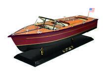 Modellboot amerikanischen Motorboots aus Holz braun schwarz historisches Modell