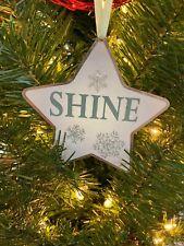 "New Kurt Adler 4.25"" Sage Green Metal Star Christmas Ornament -Shine!"