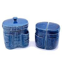 Vtg Big Bens Inc Blue Denim Sugar or Jam Jar & Salt and Pepper Shaker Set