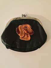 Dachshund Dog Design Leather Change Purse Wallet Doxie Dog Breed Gifts