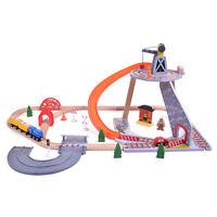 55Pcs Mine Crane & Quarry Wooden Train Car Track Railway Set Toy Brio Compatible