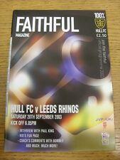 20/09/2003 Rugby League Programme: Hull v Leeds Rhinos. Footy Progs (aka bobfran