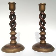 Antique Wooden 10 Inch Turned English Barley Twist Candlestick Holder Pair