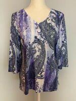 Chico's Womens Top Blouse Size 1 Purple Paisley Rhinestones V Neck 3/4 Sleeve