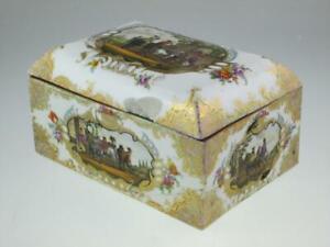 Large 18th Century Meissen Style Porcelain Casket Jewellery Box Circa 1780