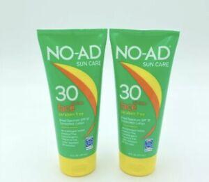 2 NO-AD Sun Care Face SPF 30 Oil Free Sunscreen Lotion 6fl oz Exp 05/22 Lot of 2