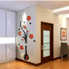 DIY Vase Flower Tree Crystal Acrylic 3D Wall Stickers Decal Vase Acrylic Sticker