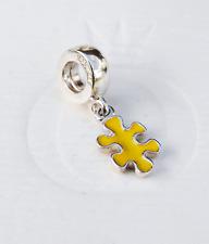 Genuine Pandora Dangle Charm Jigsaw Puzzle Piece Yellow - 790486EN06 - retired