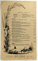 1980's Menu Restaurant BAY WOLF & Cafe Oakland California