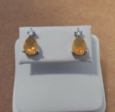 Honey Fire Opal  & White Zircon 10K White Gold Earrings 1.76ct AAA Quality