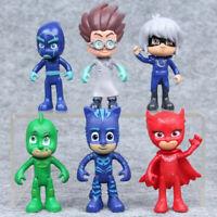 6pcs PJ Masks Toy Figures Owlette Catboy Gekko Lunar Girl Romeo Cake Toppers