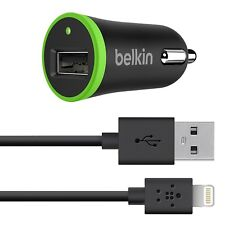 Genuine NEW UK Belkin Car Charger + Lightning to USB Cable Sync iPad iPod iPhone