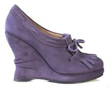 new $960 BOTTEGA VENETA plum purple suede wedge BOOTIE shoes 38 US 8