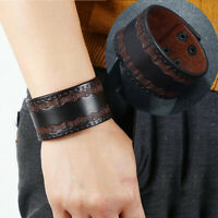 Punk Men Women's Wide Leather Bracelet Cuff Wrap Wristband Surfer Bangle Jewelry