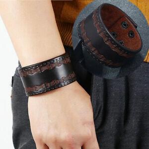 Punk Mens Women Wide Leather Bracelet Cuff Wristband Surfer Bangle Wrap Jewelry
