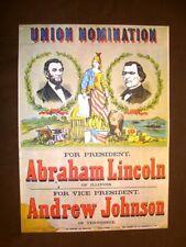 Manifesto elettorale A.Lincoln e sua caricatura Stampa popolare americana U.S.A.