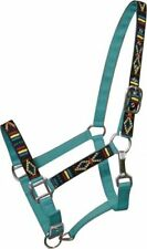 TEAL 2 Ply Nylon Horse Halter w/ Embroidered Navajo Design!!! NEW HORSE TACK!!!