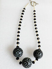 """White potato Pearl Black Glass beaded 3 large ball toggle clasp necklace 19.5""""L"""