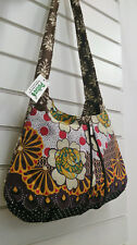 Medium Floral Cotton Shoulder Cross Body Bag Long Adjustable Strap Pocket Zip