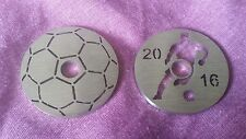 Set of 2 football & footballer stainless 45 rpm adapters for centre spindle hole