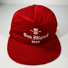 Vintage San Miguel Beer Philippines Solid Red White Snapback Hat Cap Since 1890