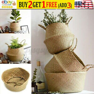 US Seagrass Belly Basket Storage Foldable Home Organizer Holder Plant Pot Decor