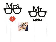 Foto Verkleidung 'Mr&Mrs' 4 teilig - Hochzeit, Brille roter Kussmund Schnurrbart