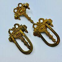 Victorian drawer handles pulls ORNATE lot of 3 match cast Brass Antique Salvage